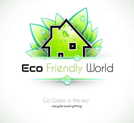 Ecolog�a verde de fondo para cubiertas ecol�gicas amigables o folletos, con hojas de colores y gotas de agua Foto de archivo - 15150465