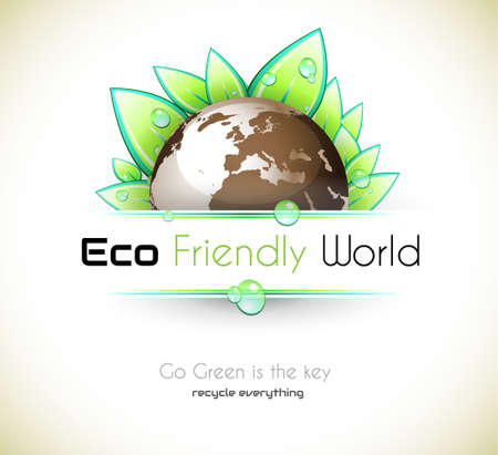 eco icon: Ecology green background for eco friendly covers or brochures, with colorful leaves and water drops Illustration