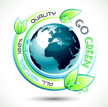 �cologie: Fond vert �cologie conceptuel avec le slogan li� vert, la terre 3D et de superbes feuilles mouill�es. Id�al pour l'environnement �co affiches connexes.