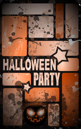 themed: Halloween Horror Party flyer with a lot of themed elements and blood drops, bats, pumpkins and so over.