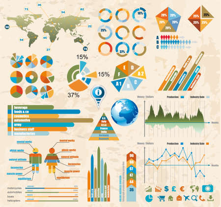 histograms: Premium Retro infographics master collection: graphs, histograms, arrows, chart, 3D globe, icons and a lot of related design elements.