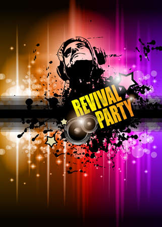 flyer background: Disco club flyer met veel abstracte kleurrijke design elementen. Ideaal voor poster en muziek achtergrond. Stock Illustratie
