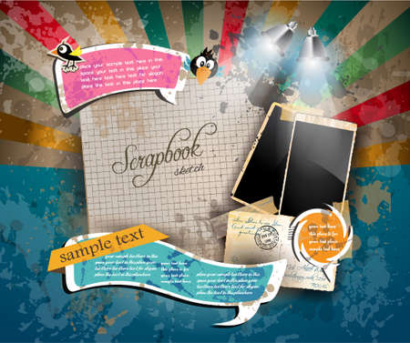 copy writing: Vintage scrapbook composition with old style distressed postage design elements and antique photo frames plus some post stickers. Illustration