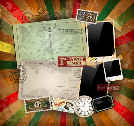 Vintage scrapbook composition with old style distressed postage design elements and antique photo frames plus some post stickers. Stock Vector - 15150471