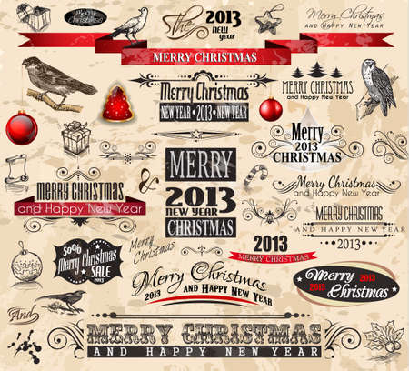 2013 Christmas Vintage typograph design elements: vintage labels. ribbons, stickers, baubles and gift boxes, birds, liquid drops, swirls and so on.  Stock Vector - 15363528