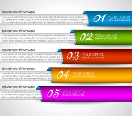 clasificacion: Mordern etiquetas de papel realistas para la clasificaci�n de productos o gr�ficos de clasificaci�n. Ideal para infograf�as o presentaciones de empresa. Vectores