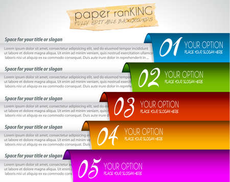 Mordern realistic paper tags for products ranking or classification graphs. Ideal for business infographics or presentations. Vector