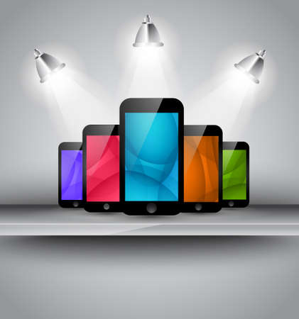 Stylish elegant home page background or brochure cover for your smarphone app with place for 5 phone screenshot. Vector