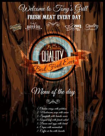 carta de postres: Grill Bistro Menu Restaurant 'cubierta con el fondo de madera apenado vintage y una etiqueta de calidad de los alimentos. Ideal para la cubierta Menu '