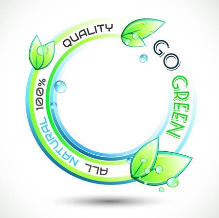 eco slogan: Ecolog�a Verde base conceptual con el lema verde relacionado, c�rculos y espectaculares hojas mojadas. Ideal para carteles relacionados con el medio ambiente ecol�gico. Vectores