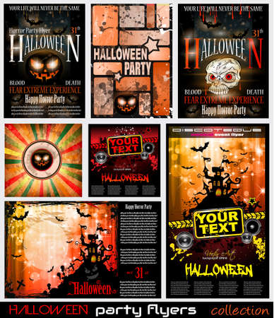 horror background: Halloween Horror Party flyer with a lot of themed elements and blood drops, bats, pumpkins and so over.