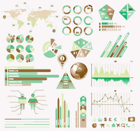 histograms: Premium Retro infographics eco  collection: graphs, histograms, arrows, chart, 3D globe, icons and a lot of related design elements.