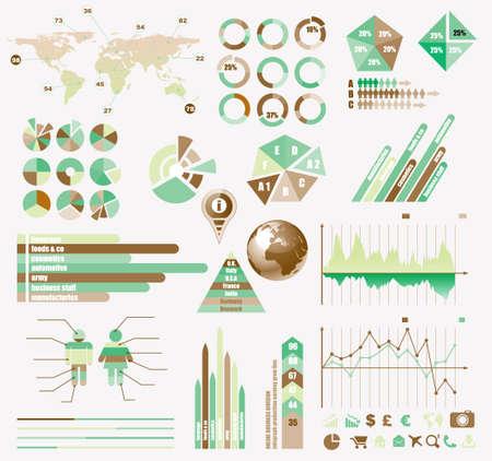 szigetelés: Premium Retro infographics eco gyűjteménye: grafikonok, hisztogram, nyilak, chart, 3D-s földgömb, ikonok és számos kapcsolódó tervezési elemeket.