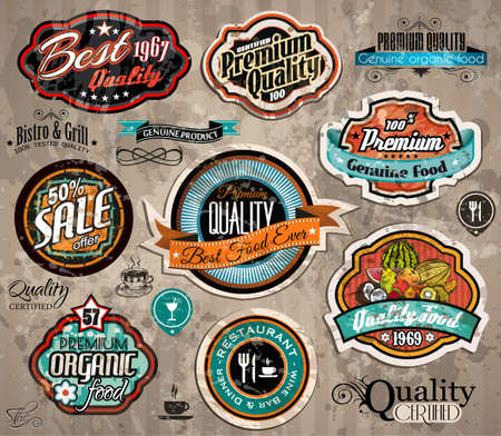 emblem: Set of Premium Quality Vintage Label with high contrast colors and water drops. Old style and distressed look,