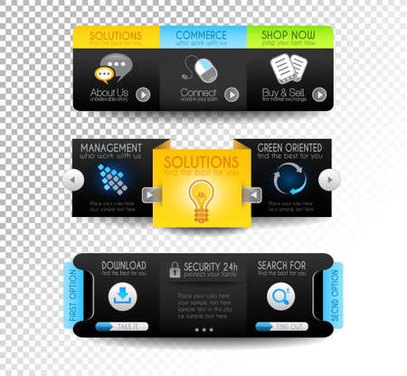 Collection of web elements, menu item, carousel, icons, ribbons, template for headers, footers,bar, side bar and so on. Stock Vector - 15673035