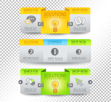Collection of web elements, menu item, carousel, icons, ribbons, template for headers, footers,bar, side bar and so on. Stock Vector - 15673044