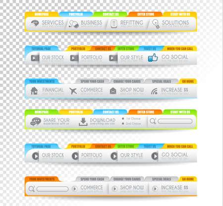 onglet: Collection d'�l�ments web, �l�ment de menu, carrousel, des ic�nes, des rubans, des mod�les pour les en-t�tes, pieds de page, bar, bar � c�t� et ainsi de suite. Illustration