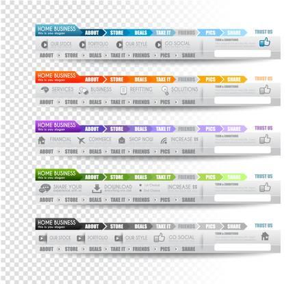 Collection d'éléments web, élément de menu, carrousel, des icônes, des rubans, des modèles pour les en-têtes, pieds de page, bar, bar à côté et ainsi de suite. Vecteurs