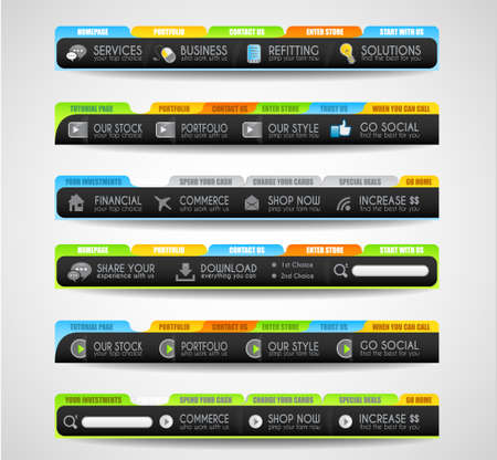 Collection of web elements, menu item, carousel, icons, ribbons, template for headers, footers,bar, side bar and so on. Stock Vector - 15673052