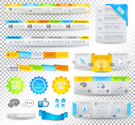 Collection of web elements, menu item, carousel, icons, ribbons, template for headers, footers,bar, side bar and so on. Stock Vector - 15673045