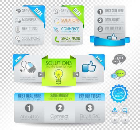 Collection of web elements, menu item, carousel, icons, ribbons, template for headers, footers,bar, side bar and so on. Stock Vector - 15673046