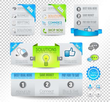 Raccolta di elementi web, voce di menu, carosello, icone, nastri, template per le intestazioni, piè di pagina, bar, bar a bordo e così via.