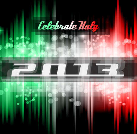 Italian 2013 New Year Celebration Background with Glitter and Rainbow Colours Stock Vector - 15912338