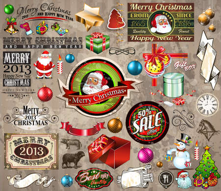 2013 Christmas Vintage typograph design elements: vintage labels. ribbons, stickers, baubles and gift boxes, birds, liquid drops, swirls and so on. Vector