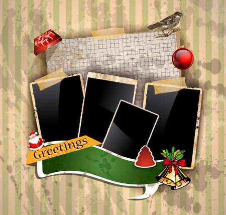 Christmas Vintage scrapbook composition with old style distressed postage design elements and antique photo frames plus some post stickers. Stock Vector - 15912337