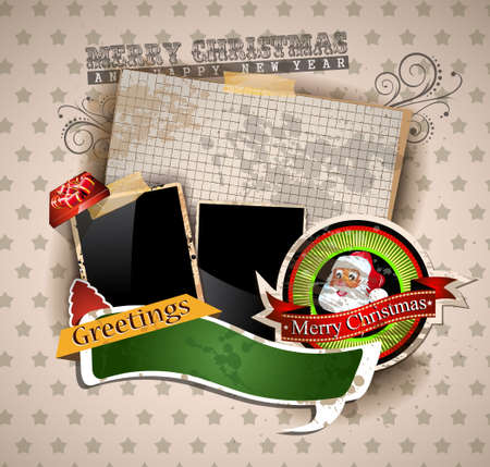 Christmas Vintage scrapbook composition with old style distressed postage design elements and antique photo frames plus some post stickers. Stock Vector - 15912331