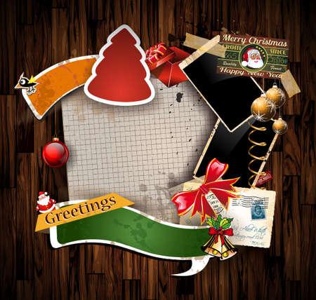 Composition de Noël de cru avec de vieux album de style en difficulté postage design elements et cadres photo antiques et quelques autocollants de poste.