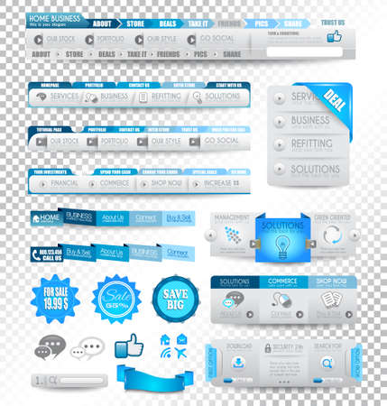 Collection of web elements, menu item, carousel, icons, ribbons, template for headers, footers,bar, side bar and so on. All in blue tones.