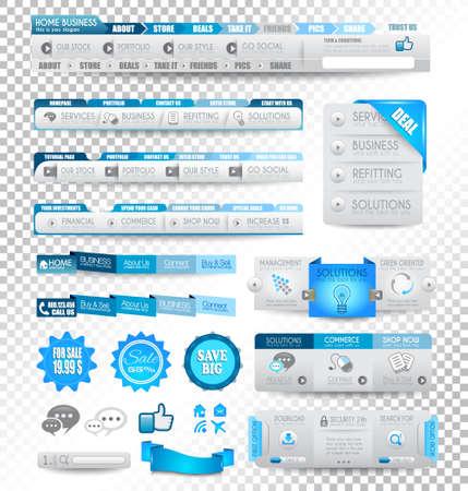 buttons: Raccolta di elementi web, voce di menu, carosello, icone, nastri, template per le intestazioni, pi� di pagina, bar, bar a bordo e cos� via. Tutto nei toni del blu. Vettoriali