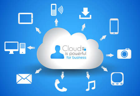 Cloud Computing concept background with a lot of icons: tablet, smartphone, computer, desktop, monitor, music, downloads and so on Stock Vector - 16004691