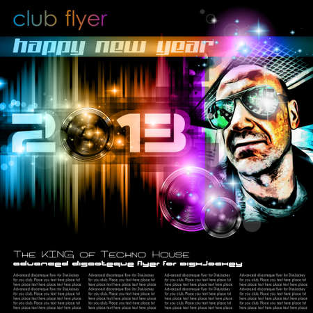 club flyer: Colorful 2013 New Year Celebration Background with Glitter and Rainbow Colours