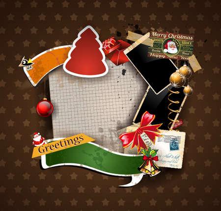 vintage foto: Kerstmis Uitstekende plakboek samenstelling met oude stijl verontruste port design elementen en antieke fotolijstjes, plus een aantal post stickers.