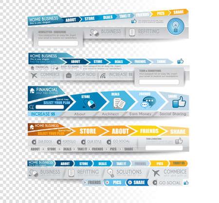 web side: Colecci�n de elementos web, elemento de men� carrusel, iconos, cintas, plantillas para los encabezados, pies de p�gina, barra lateral, barra y as� sucesivamente. Todo en tonos azules.