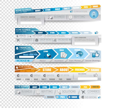 Collection of web elements, menu item, carousel, icons, ribbons, template for headers, footers,bar, side bar and so on. All in blue tones. Vector