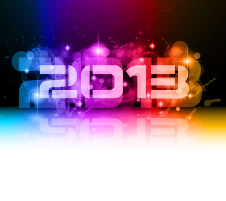 Colorful 2013 New Year Celebration Background with Glitter and Rainbow Colours Stock Vector - 16375184