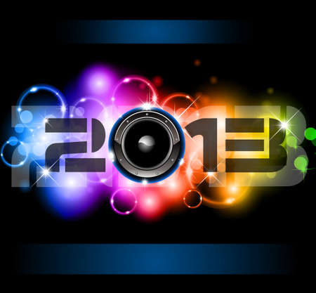 Colorful 2013 New Year Celebration Background with Glitter and Rainbow Colours Stock Vector - 16375186