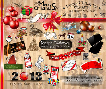 2013 Christmas Vintage typograph design elements  vintage labels  ribbons, stickers, baubles and gift boxes, birds, liquid drops, swirls and so on Stock Vector - 16375193