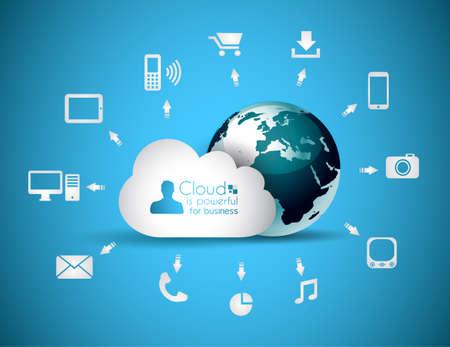 databank: Cloud Computing concept achtergrond met veel iconen tablet, smartphone, computer, desktop, monitor, muziek, downloads en ga zo maar door Stock Illustratie