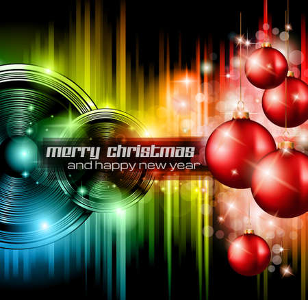 nightclub party: Christmas Club Party Background - Ideal for holiday discotheque event or party invitation poster. Illustration