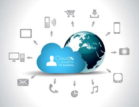 telecomm: Nube de fondo Computing concepto con una gran cantidad de iconos: tableta, smartphone, computadora, escritorio, monitor, m�sica, descargas, etc