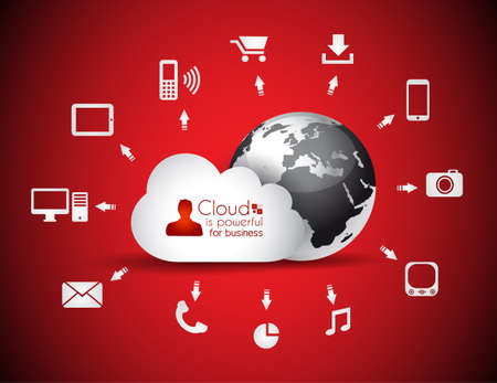 Cloud Computing concept background with a lot of icons: tablet, smartphone, computer, desktop, monitor, music, downloads and so on Stock Vector - 16462727