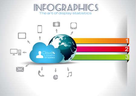 tan: Nube de fondo Computing concepto Infograf�a con un mont�n de iconos: tableta, smartphone, computadora, escritorio, monitor, m�sica, descargas, etc Vectores