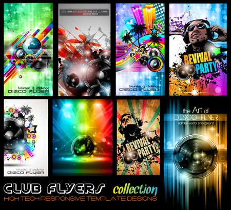 flyer background: Club Flyers ultieme verzameling - Hoge kwaliteit abstracte volledige bewerkbare sjabloon ontwerpen voor muziek posters of disco flyers. Stock Illustratie