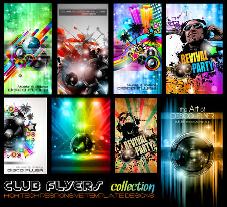 party club: Club Flyers ultimate collection - High quality abstract full editable template designs for music posters or disco flyers. Illustration