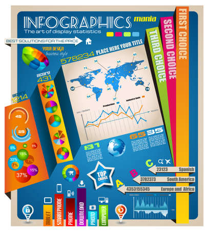 ideal: Infographic elements - set of paper tags, technology icons, graphs, paper tags, arrows, world map and so on. Ideal for statistic data display. Illustration