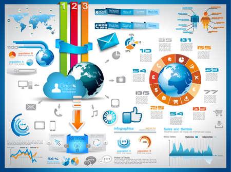 graphics: Infographic elementen - set van papieren etiketten, technologie pictogrammen, wolk cmputing, grafieken, papieren etiketten, pijlen, wereldkaart en ga zo maar door. Ideaal voor statistische gegevens weergegeven.